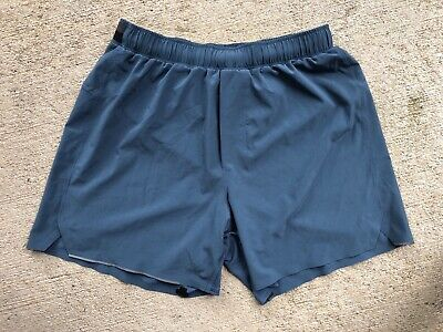 "Lululemon Men's Surge Shorts Small Blue Iron 5"" No Liner Run Swift"