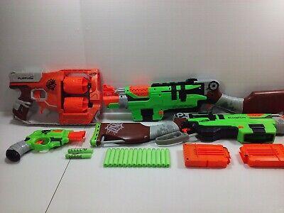 Nerf Zombie Strike Dart Gun Lot~~SlingFire~~Flipfury~~Double Strike