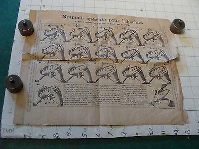 vintage Paper: Instrution for OCARINA 1800's, folded, worn as shown V Scarce