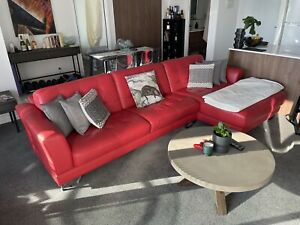 4 Seater Red leather Couch Chaise
