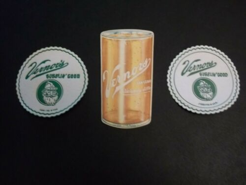 1960 NOS 2 VERNORS Ginger Ale GNOME Paper Coasters+Glass Shape Cardboard COASTER