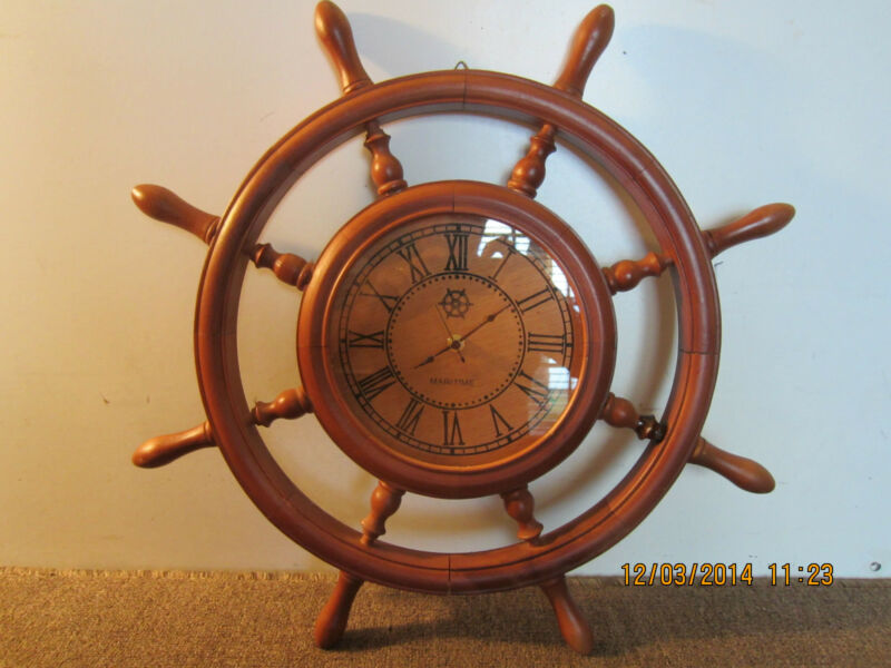 "MARITIME, REPLICA SHIP WHEEL WOODEN 20"" CLOCK"