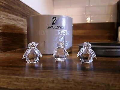SWAROVSKI CRYSTAL Set of 3 PENGUINS w/Box