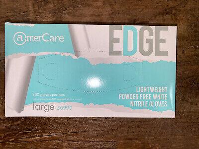 New Sealed Edge 200 Gloves Per Box Nitrile Powder Free Size Large White Gloves