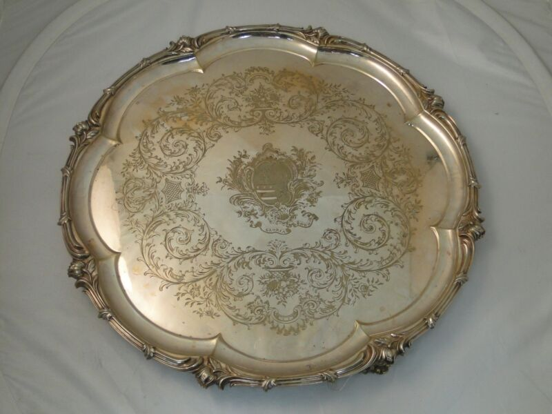 SILVER PLATED CHARGER VICTORIAN LARGE SIZE 1840 ENGRAVED CRESTED CAST BORDER