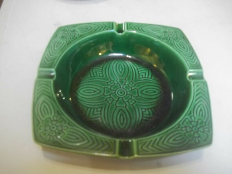 "8"" Square Vintage Mid Century Modern USA  Cigar Ceramic Ashtray  EXCELLENT"