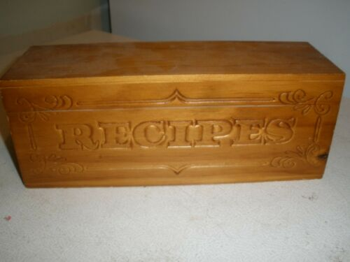"Wooden Recipes Recipe Box 11.5"" x 3.75"" x 4.25""  (H)"