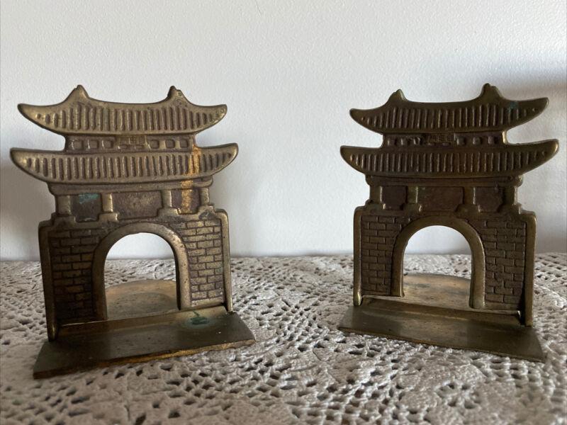 Vintage Folding Brass Asian Pagoda Gate Bookends