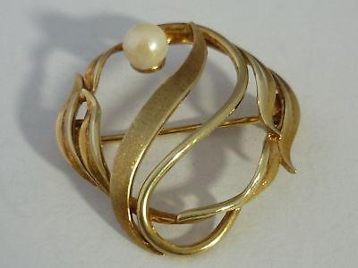 Stunning & Unusual Vintage Genuine Pearl & 9k Gold Brooch - 3.6 Grams