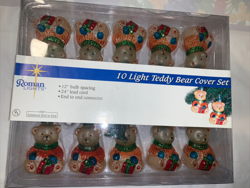 Vintage Teddy Bear Cover Set  Lights 10 Count By Roman Lights 2002