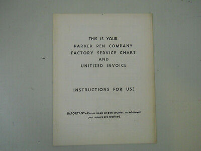 Parker Factory Service Chart and Unitized Invoice Instructions
