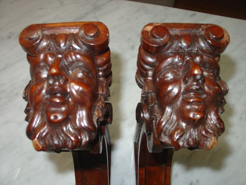 Antique French Wood Corbels Figural Wall Brackets 1880-1890