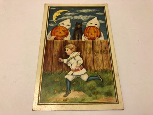Antique Halloween Postcard w Boy Running from Ghosts Black Cat on Fence e.1900s