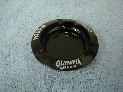 "Vintage Collectible 4 ¼"" Olympia Beer Ashtray Black Tobacco Brewery Advertising"
