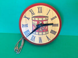 VTG Patriotic Soldiers Drum Eagle War Round Red Wooden Wall Clock Electric Works