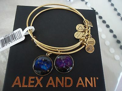Alex And Ani Big And Little Dipper  Russian Gold Bangles New W  Tag Card   Box