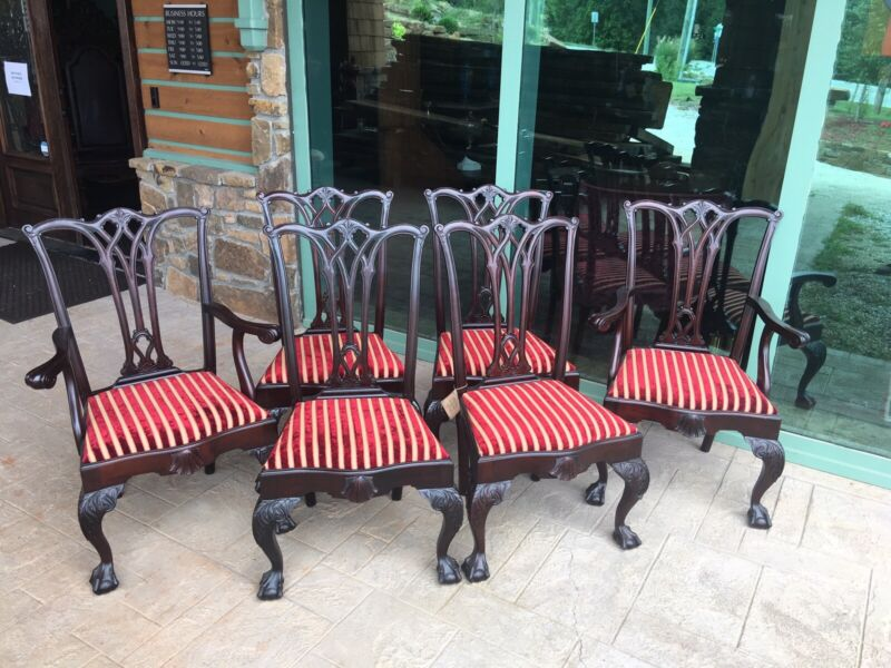 6 Incredible Carved Mahogany Chippendale Dining Chairs. 1890s