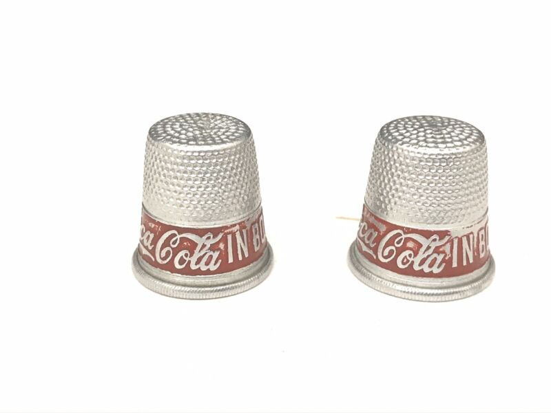 """Two Vintage Coca Cola Advertising Sewing Thimbles """"Drink Coca Cola in Bottles"""""""