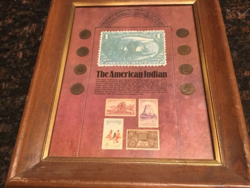 THE AMERICAN INDIAN COINS STAMPS GLASS WOOD FRAMED COLLECTION 8 CENTS 4 STAMPS