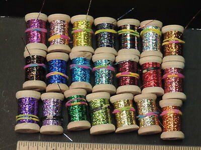 """24 Yards New Spool of  3//32/"""" Wide Flat SILVER Holographic Tinsel or Flash"""