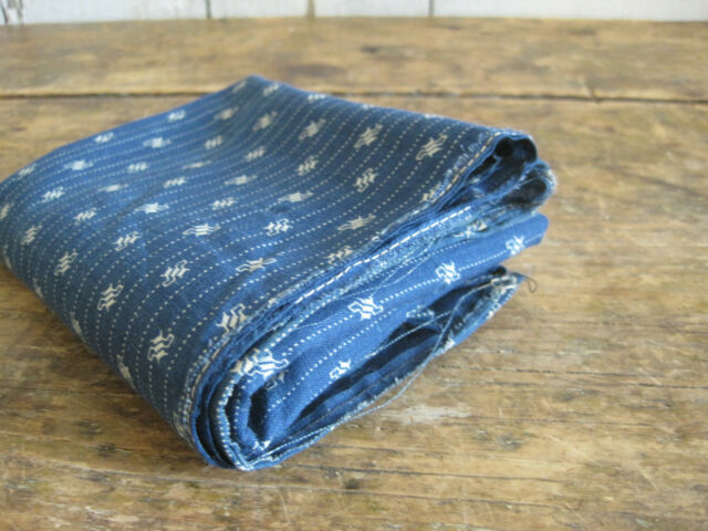 Old Primitive Blue White Calico Fabric LARGE Piece  American Country Find AAFA
