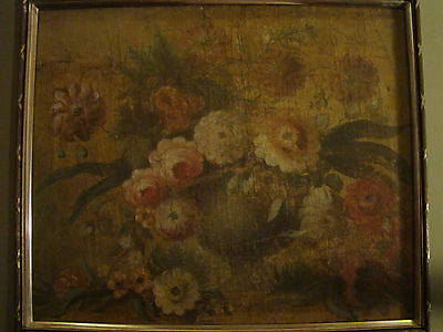 18th Century Bouquet (early 19th/late 18th century STILL LIFE floral bouquet OIL on CANVAS framed)