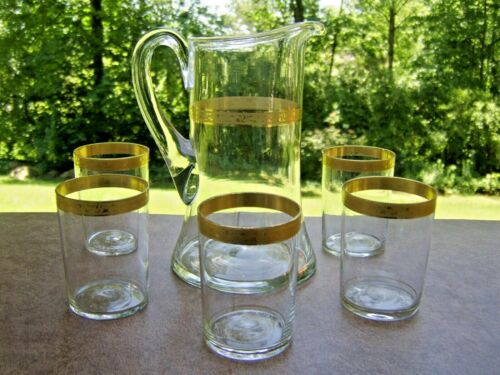 Old Blown Crystal Pitcher and 5 Tumblers Lemonade / Water Set