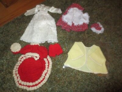 LOT DOLL CLOTHING--Baby Jacket, Wedding Dress, Mrs. Santa Outfit, Gambina Outfit - Baby Mrs Santa Outfit