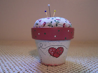 "New Pin Cushion Handpainted 3"" Mom...Mender Of Broken Hearts Rose Color"