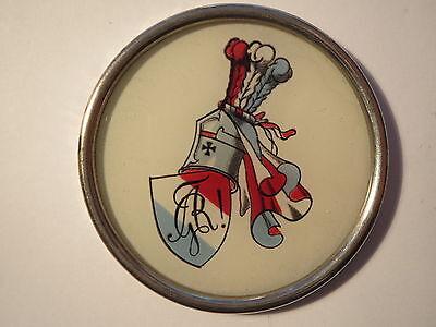 Glasuntersetzer mit Farbschild und Zirkel / rot-weiß-blau / Studentika