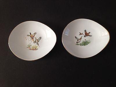 2 Vintage Crown Staffordshire Game Bird Dishes