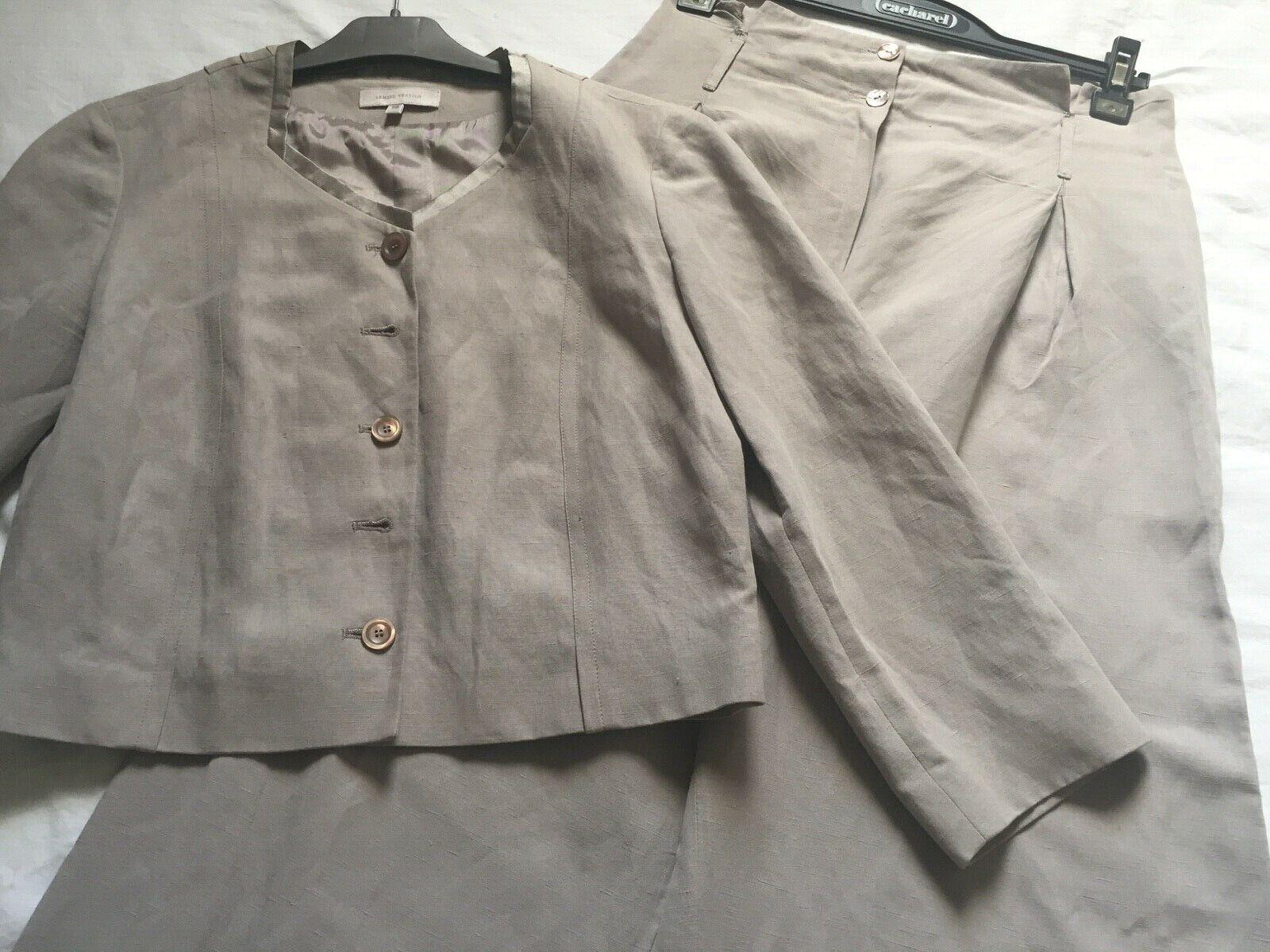 Tailleur veste + pantalon armand ventilo  taille 40 en lin et soie