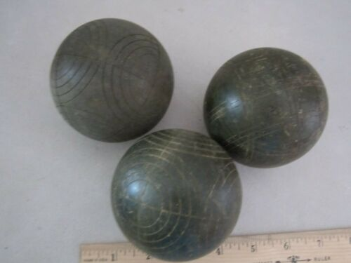 """Vintage lot of 3 green Italy bocce balls lawn game. Wooden 3"""" Bocci."""