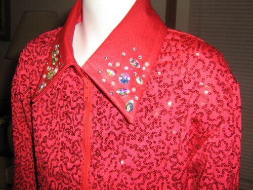 Girl L RED western pleasure show shirt horsemanship walk trot leadline