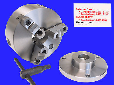 6 3-jaw Reversible Jaw Chuck With 1-12 X 8 Adapter