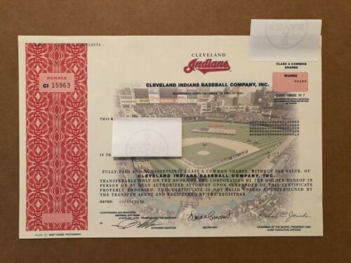 CLEVELAND INDIANS BASEBALL COMPANY STOCK CERTIFICATE ISSUED 1998 RICHARD JACOBS