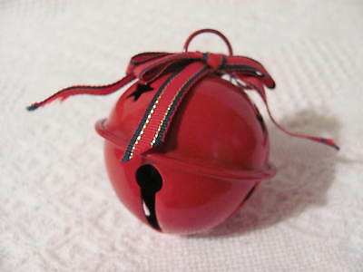 Christmas Red Enamel Jingle Bell Ornament with Bows - 2-1/2""