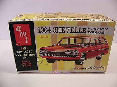 VINTAGE AMT 1964 CHEVELLE STATION WAGON 1/25 SCALE MODEL BOX BILL CUSHENBERY