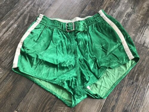 """Vintage 1950s Green Satin Belted Gym Shorts Padded 30"""" Waist x 15"""""""