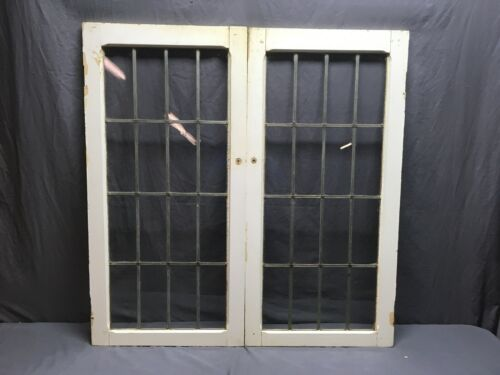 Antique Pair 16 Lite Leaded Glass Mahogany Cabinet Doors 40x41 Old Vtg 310-19E