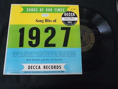 Songs Of Our Times Song Hits Of 1927 Bob Grant Hallelujah 10  Lp Jazz  Orchestra
