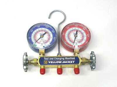 Yellow Jacket Manifold Gauge 42001 No Hoses For R22 R410a R404a 3-18 In. Gauges
