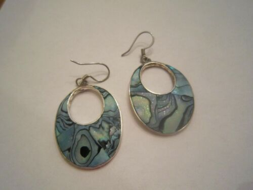 Vintage Alpaca Mexico Silver Oblong Dangle Earrings With Blue Abalone Inlay NICE
