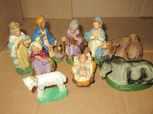 Nice Vintage Christmas Nativity Set Made in Italy Chalkware 9 pc