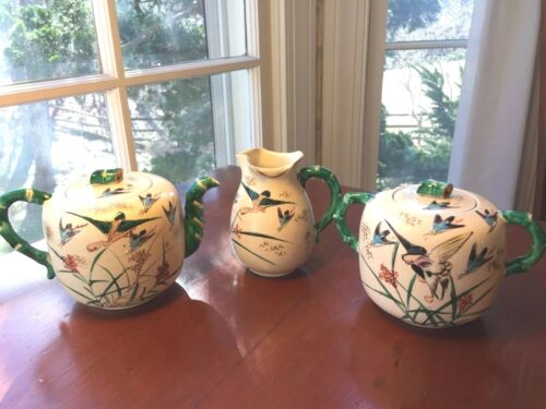 Antique Japanese Meiji Banko  Hand-Painted 3 pc Tea Set, signed Kinkozan, 19th c