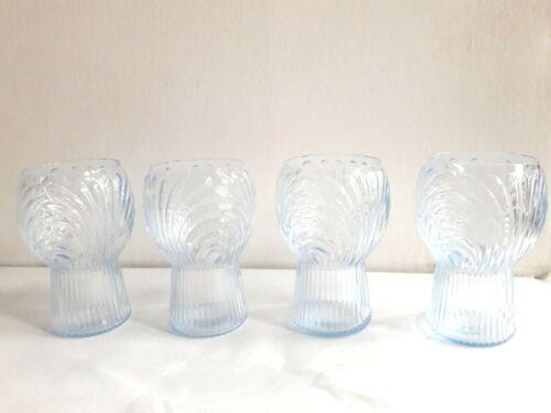 (4) Rare 1936 Moonlight Blue Cambridge Caprice  5 ounce Tumblers Item #180