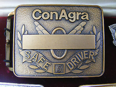 Vtg Conagra Foods Belt Buckle Logo Employee Award Jostens Wesson Brass Rare Mint
