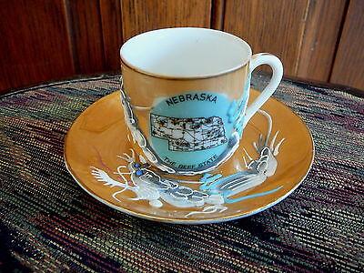 NEBRASKA Vintage SOUVENIR CUP SAUCER - GEISHA GIRL LITHOPHANE MORIAGE DRAGONWARE