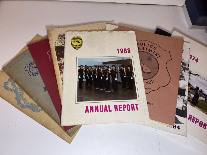 (16 Each) Vintage MPD (Maui Police Dept) Annual Reports