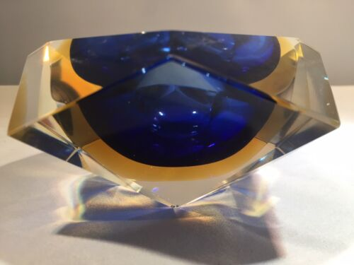 Murano Sommerso Faceted Block Bowl in Blue, Amber and Clear with Patterned Base